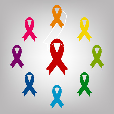 substance abuse awareness: Awareness ribbon vector sign. Icons colorful set Illustration