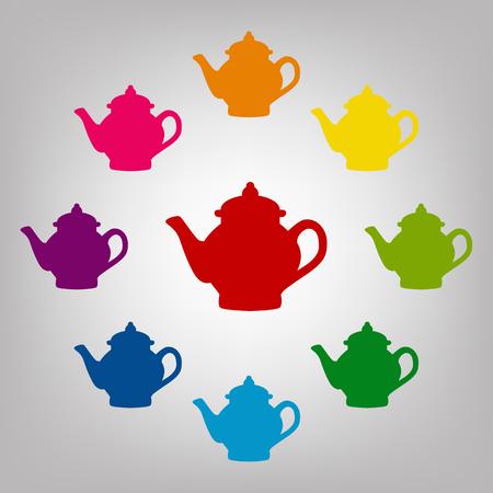 sign maker: Tea maker vector sign. Icons colorful set