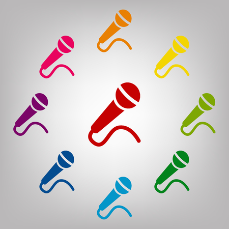 amplification: Microphone vector sign. Icons colorful set vector illustration Illustration