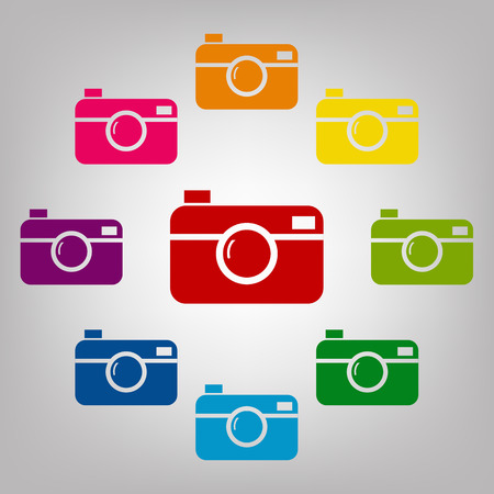 whim of fashion: Digital photo camera vector sign. Icons colorful set