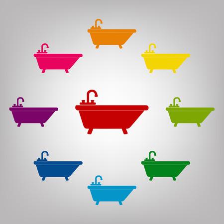 bathtub: Bathtub vector sign. Icons colorful set vector illustration Illustration