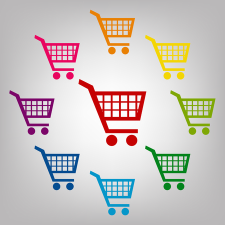 shoppingcart: Shopping cart icons for online purchases- vector sign. Icons colorful set