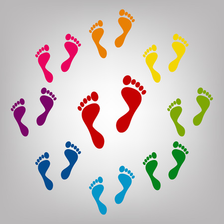forensic: Foot prints vector sign. Icons colorful set