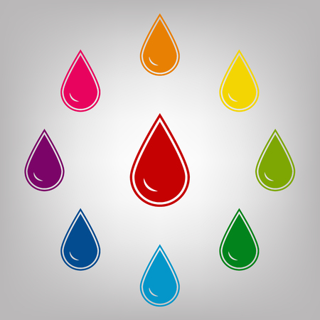benzine: Drop of water vector sign. Icons colorful set