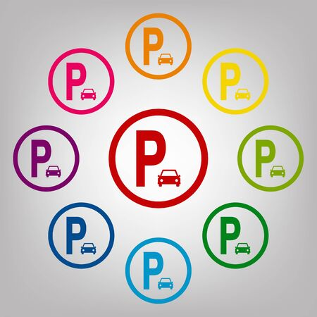 sig: Parking sig vector sign. Icons colorful set