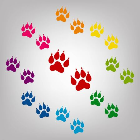 animal finger: Animal Tracks vector sign. Icons colorful set Illustration