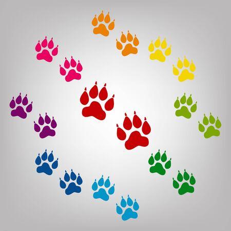 huellas de animales: El animal sigue signo de vectores. Iconos conjunto de colores Vectores