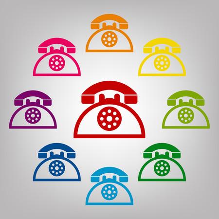telephone icons: Retro telephone vector sign. Icons colorful set Illustration