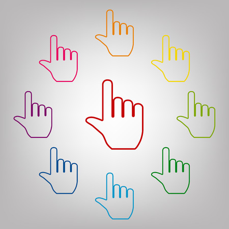 hit tech: Hand vector sign. Icons colorful set vector illustration Illustration