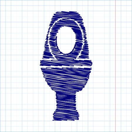 urinate: Toilet Icon with pen effect. Vector illustration
