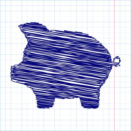 signo de pesos: cerdo icono de banco del dinero del vector icono de alcancía banco del dinero, con efectos de la pluma Vectores