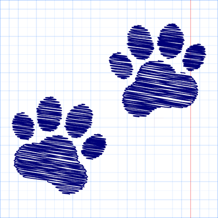 huellas de animales: Huellas de animales. Ilustraci�n del vector con efecto de la pluma y el papel de la escuela