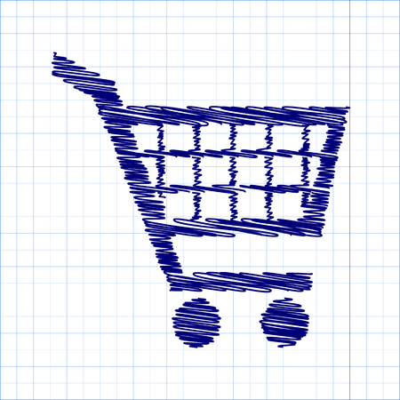 purchases: Shopping cart icons for online purchases- vector  with pen and school paper effect