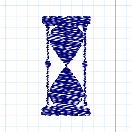 metering: Hourglass. Vector with pen and school paper effect