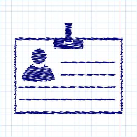 recognizing: Id card icon with pen and school paper effect