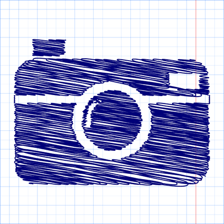 whim: digital photo camera icon with pen and school paper effect