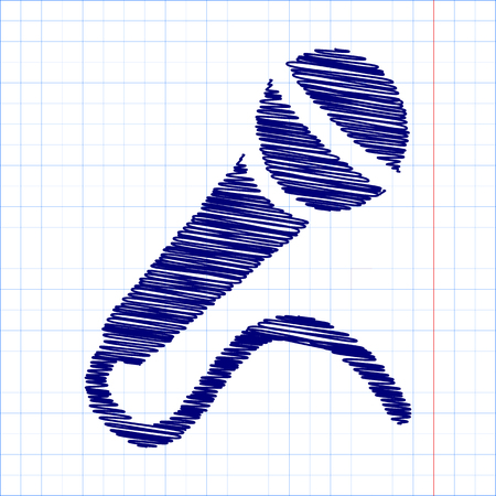 amplification: Microphone Icon with pen and school paper effect