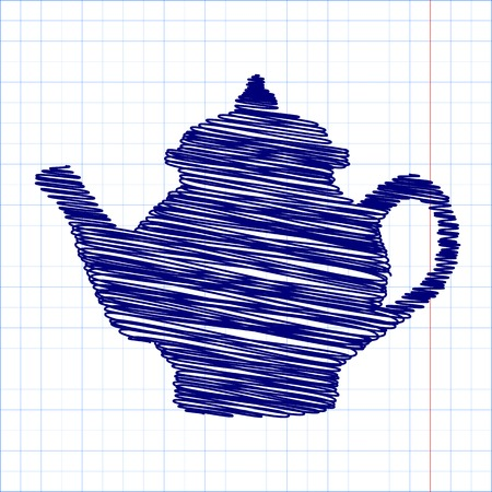 chinese tea pot: Tea maker. Vector illustration with pen and school paper effect