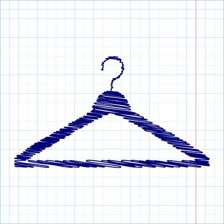Hanger - Vector icon with pen and school paper effect