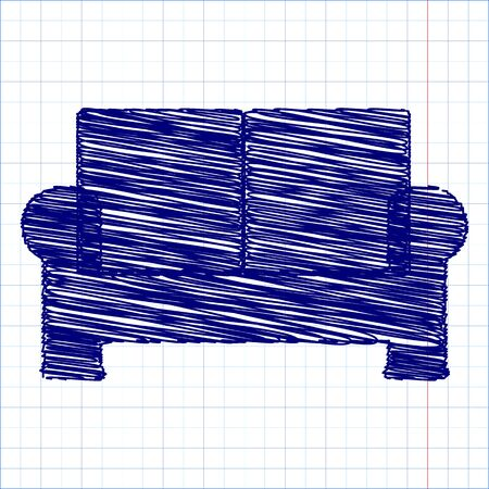 gram: sofa icon - vector with pen and school paper effect Illustration