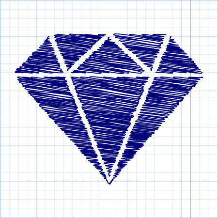 spoil: Diamond icon - Vector illustration with pen and school paper effect Illustration