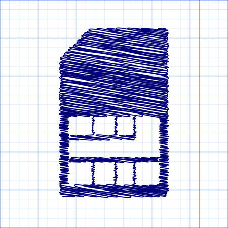 sim card: Sim card icon with pen and school paper effect
