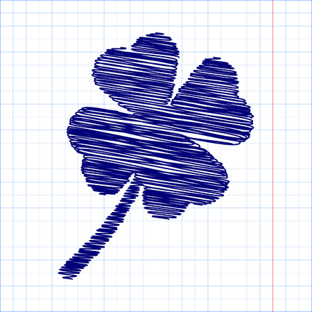 patric icon: Clover leaf icon with pen and school paper effect