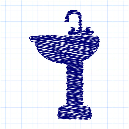 necessity: bathroom sink with pen and school paper effect Illustration