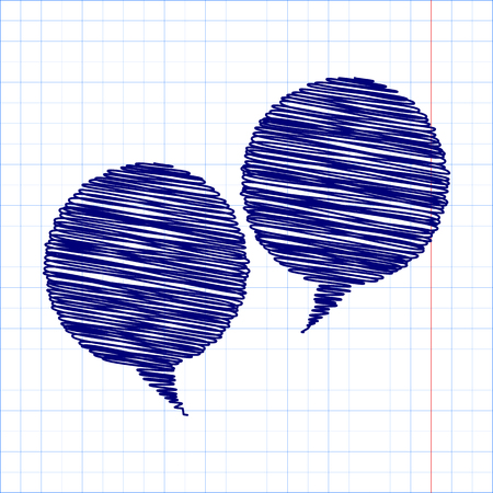 illustrates: Speech bubble with pen and school paper effect