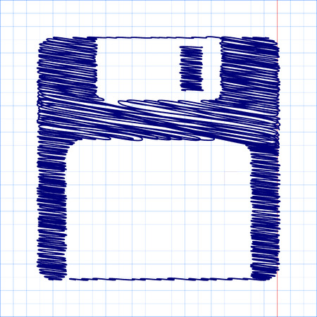 floppy drive: floppy disk  Vector icon with pen and school paper effect