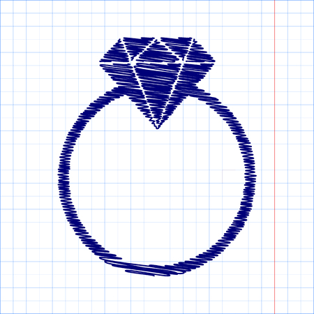 Diamond icon - Vector illustration with pen and school paper effect Illustration