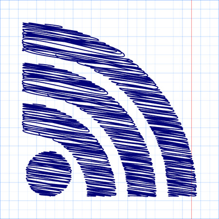 rss feed: RSS sign icon. RSS feed symbol with pen and school paper effect