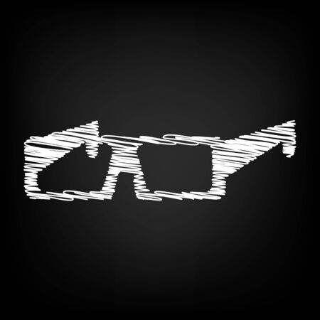 3d glasses icon with chalk effect. Vector illustration
