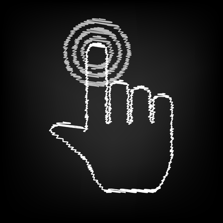 depress: Hand icon with chalk effect. Vector illustration