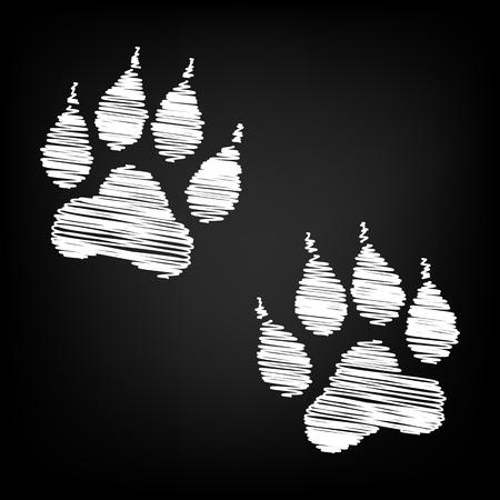huellas de animales: Huellas de animales. Ilustraci�n del vector con efecto tiza Vectores