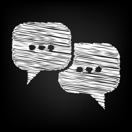 dialog baloon: Speach bubles icon with chalk effect. Vector illustration
