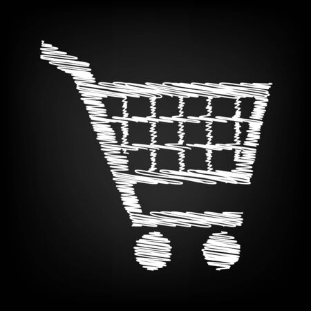 purchases: Shopping cart icons for online purchases with chalk effect. Vector illustration Illustration