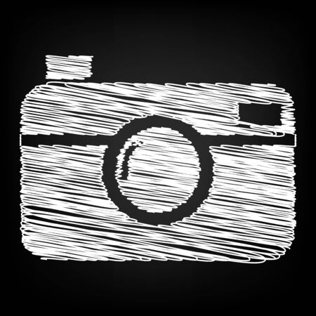 whim of fashion: digital photo camera icon with chalk effect Illustration