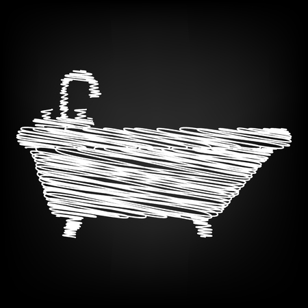bathtub: Bathtub Icon with chalk effect. Vector illustration Illustration