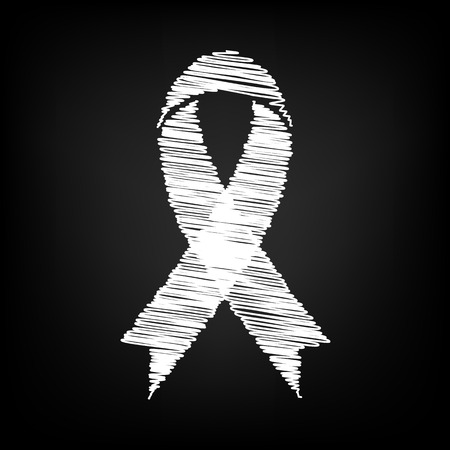 substance abuse awareness: Black awareness ribbon with chalk effect. Vector illustration