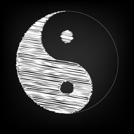 daoism: Ying yang symbol of harmony and balance with chalk effect