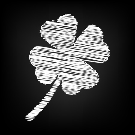 patric icon: Clover leaf icon with chalk effect. Vector illustration