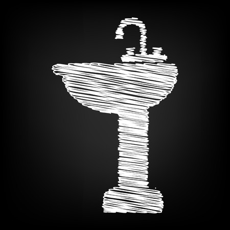 necessity: Bathroom sink with chalk effect. Vector illustration