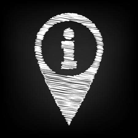 informing: Map pointer with chalk effect. Vector illustration