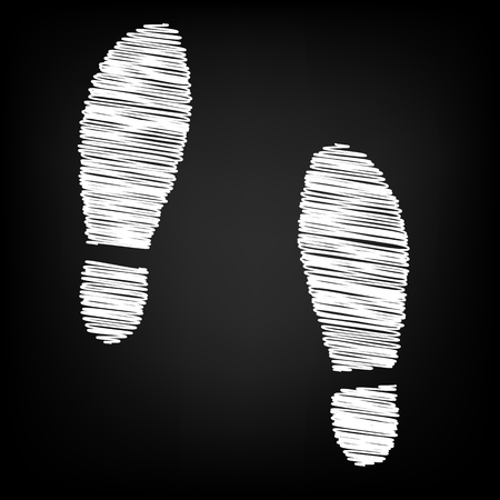 imprint: Imprint soles shoes icon with chalk effect