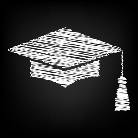 Mortar Board or Graduation Cap, Education symbol with chalk effect Illustration