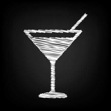 coctail: Coctail icon with chalk effect. Vector illustration Illustration