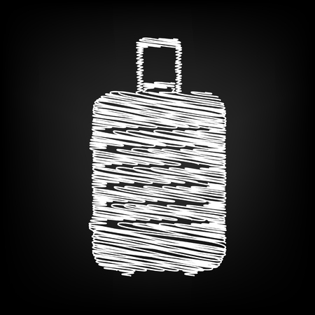 suit case: Luggage icon with chalk effect. Vector illustration