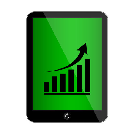 palmtop: Vector computer tablet with growing graph icon Illustration