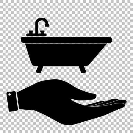 bathtub: Bathtub sign. Save or protect symbol by hand Illustration